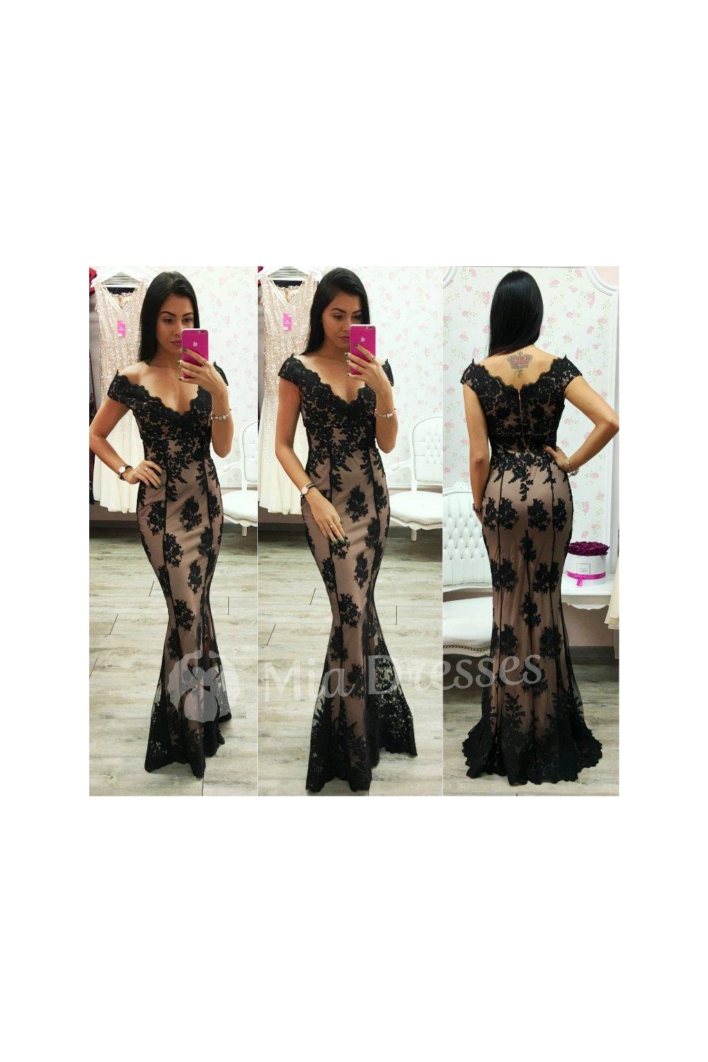 Béžovo-čierne spoločenské šaty s krajkou