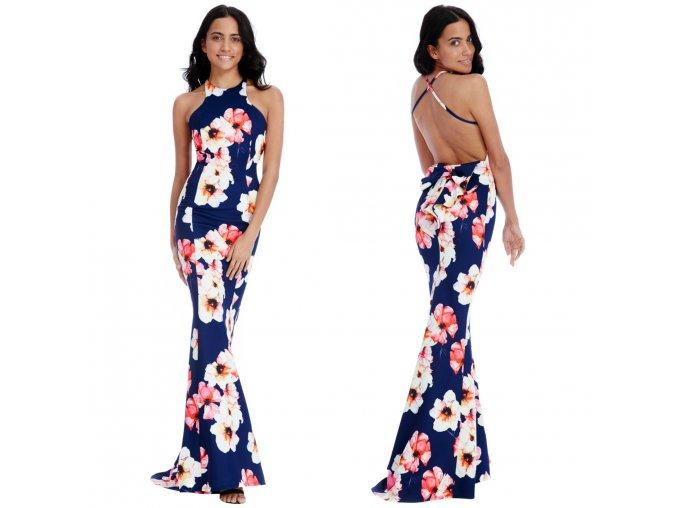 Kvetinové spoločenské šaty- Navy