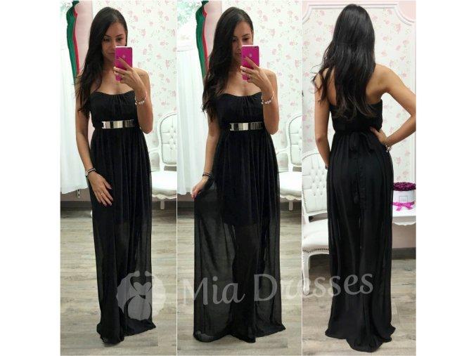 Čierne spoločenské šaty s kovovou aplikáciou