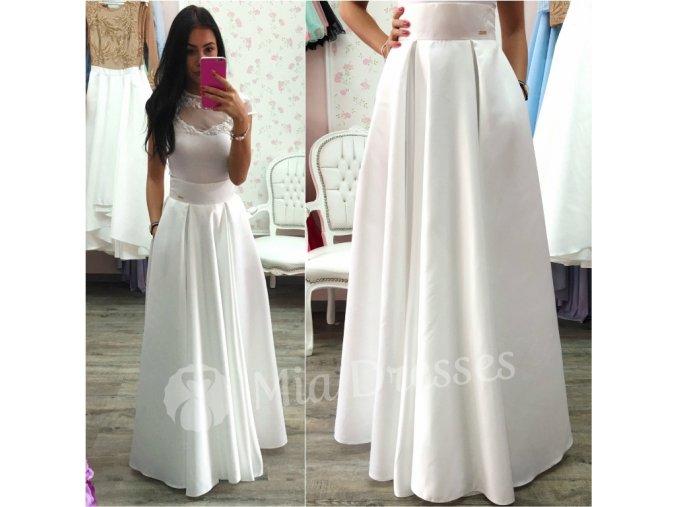 Biela dlhá saténová sukňa