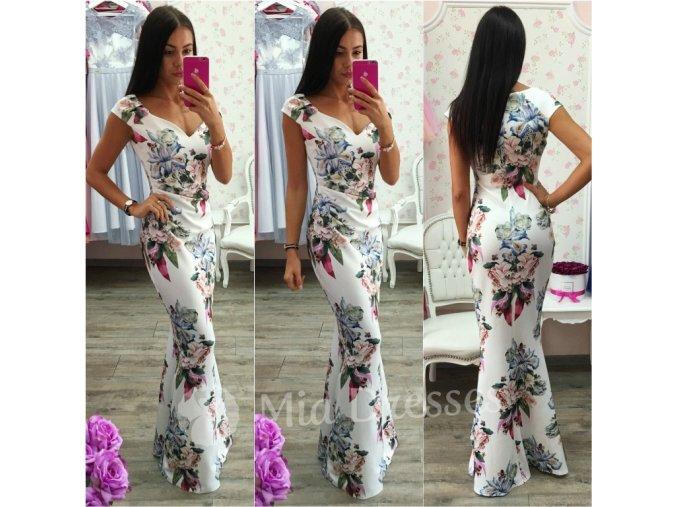 Smotanové kvetinové spoločenské šaty