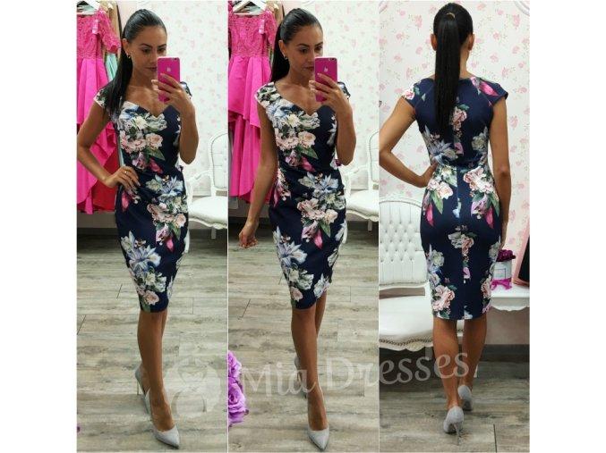 Tmavomodré kvetinové midi šaty