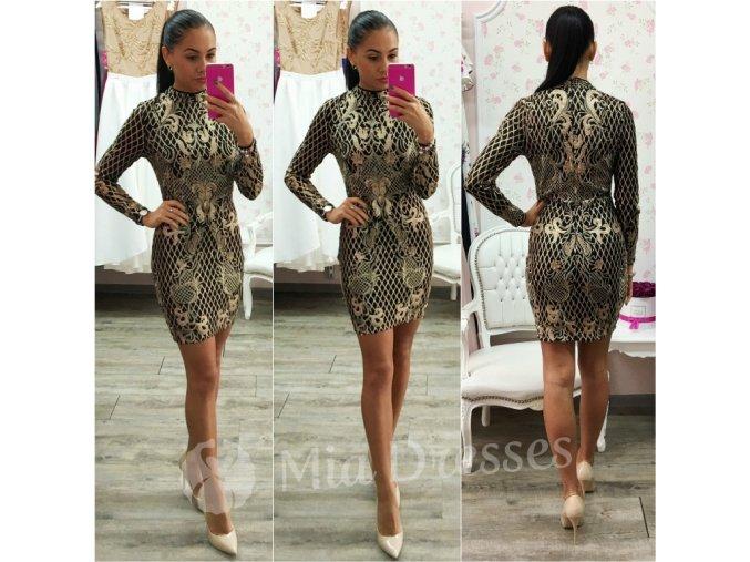 Čierne šaty so zlatými flitrami