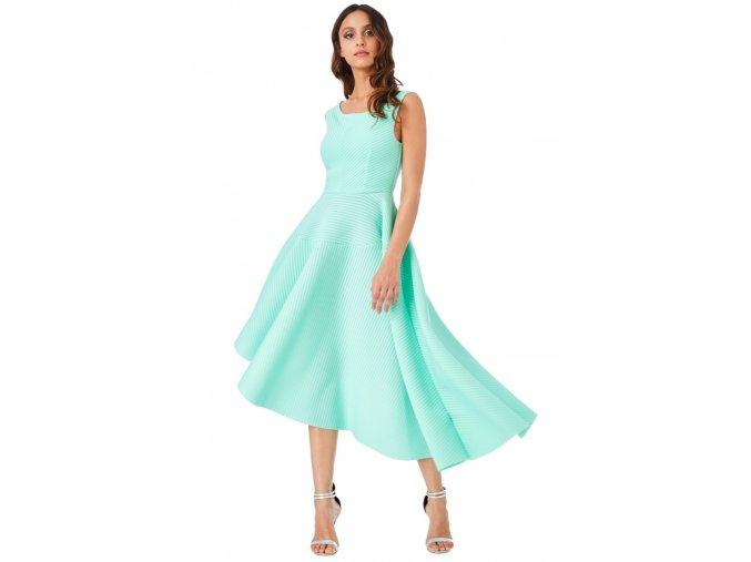 Mentolové spoločenské asymetrické šaty