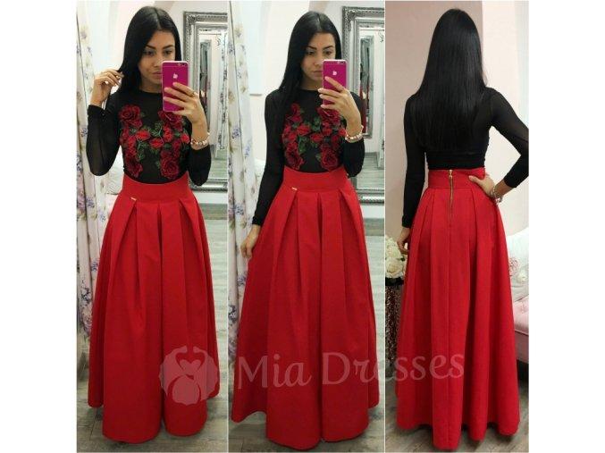 Červená dlhá skladaná sukňa