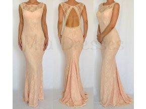 Púdrové čipkované šaty s odhaleným chrbtom