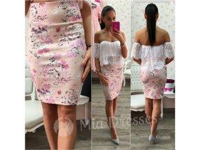 Púdrová kvetinová sukňa s vysokým pásom