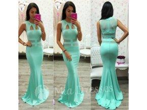 Mentolové dlhé šaty s výrezmi