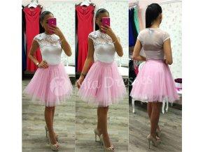 Ružová krátka tylová tutu sukňa