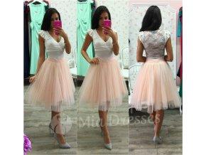 Púdrová midi tylová tutu sukňa