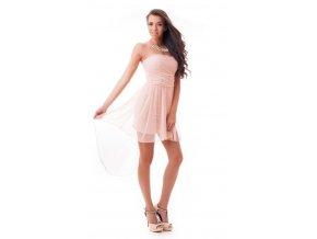 Púdrové asymetrické spoločenské šaty