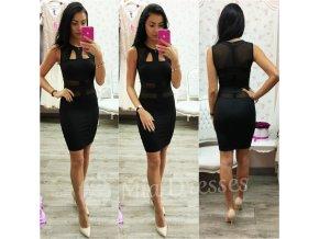 Čierne krátke šaty s výrezmi