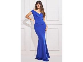 Modré spoločenské priliehavé šaty