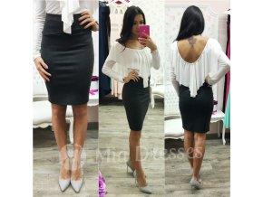 Tmavosivá sukňa s vysokým pásom