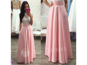 Svetloružová dlhá saténová sukňa