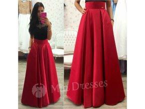Červená dlhá saténová sukňa