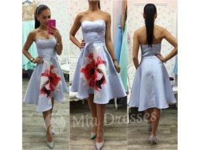 Svetlomodré áčkové šaty Flower
