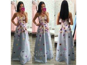 Kvetinové spoločenské šaty- GREY