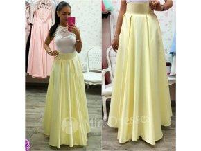 Žltá dlhá saténová sukňa