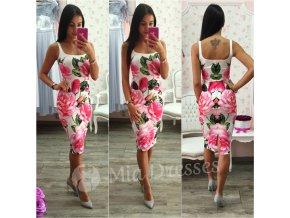 Krátke šaty - Kvetinové letné midi šaty