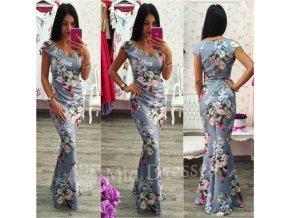 Kvetinové spoločenské šaty GREY