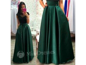 Smaragdová dlhá saténová sukňa
