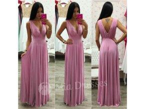 Ružové spoločenské šaty s plisovanou sukňou