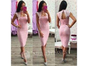 Ružové čipkované midi šaty