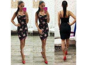 Čierne kvetinové mini šaty