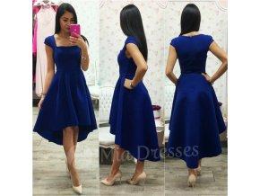 Modré asymetrické šaty