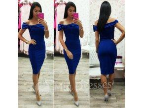 Modré midi šaty so spustenými ramenami
