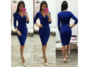 Modré midi šaty s výstrihom v tvare V