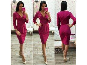 Tmavoružové midi šaty s výstrihom v tvare V