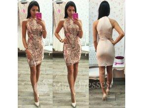 Telové mini šaty s flitrami