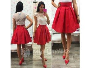 Červená áčková mini sukňa