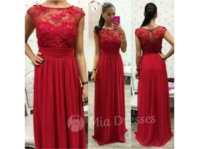 Červené šifónové spoločenské šaty