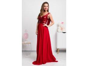 Červené šifónové šaty s flitrami