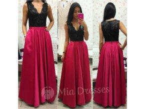 Malinové spoločenské šaty so saténovou sukňou