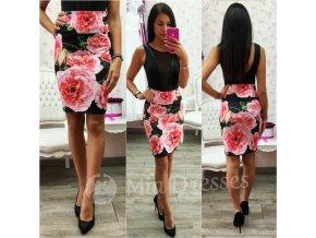 Kvetinová sukňa s vysokým pásom