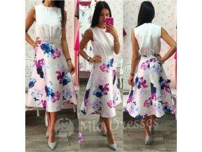 Smotanové kvetinové midi šaty
