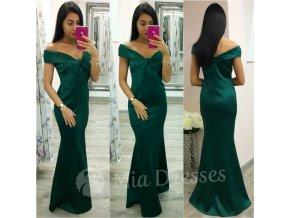 Smaragdové spoločenské šaty spustené na ramená