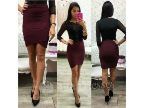 Bordová krátka priliehavá sukňa