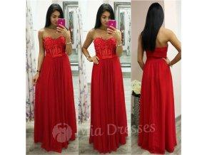 Červené dlhé šaty s krajkou