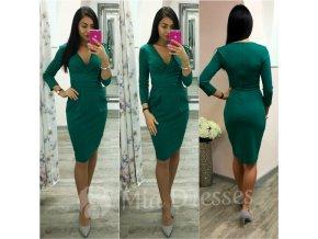 Smaragdové midi šaty s výstrihom v tvare V