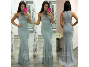 Sivé šifónové spoločenské šaty