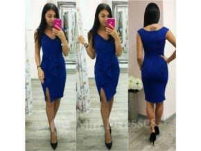 Modré midi šaty s mašľou