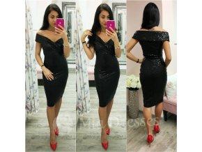 Čierne midi šaty s flitrami