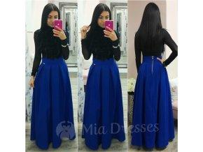 Modrá dlhá skladaná sukňa