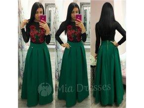 Zelená dlhá skladaná sukňa
